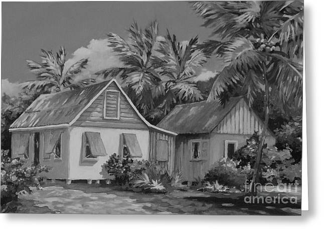 Old Cayman Cottages Monochrome Greeting Card by John Clark