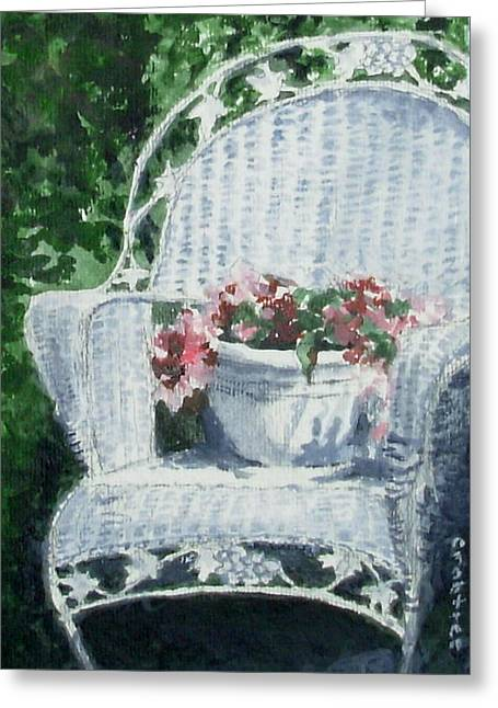 Old Chair And Flowers Greeting Card