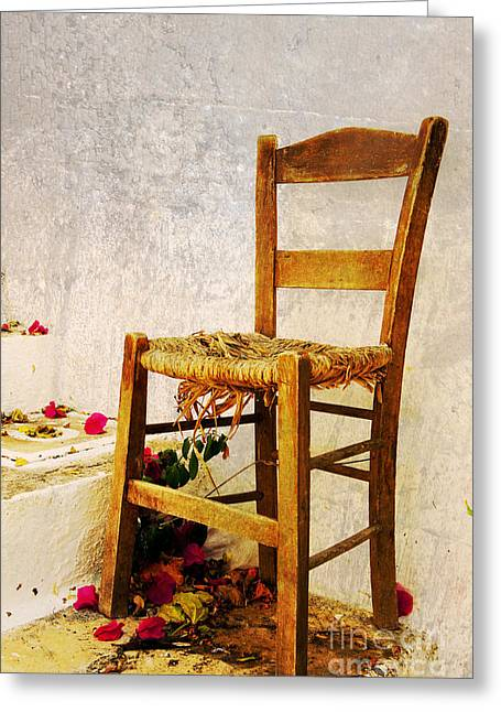 Old Chair Greeting Card by Christos Dimou
