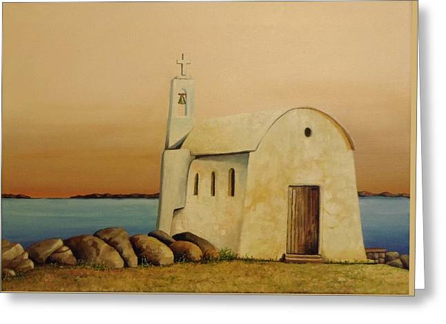 Old Chapel On Mykonos Greeting Card by Martin Schmidt