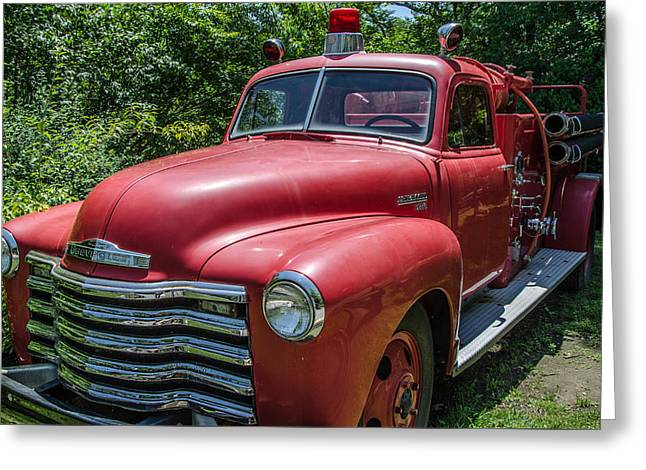 Old Chevy Fire Engine Greeting Card