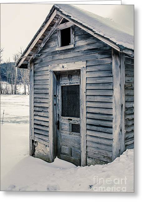 Old Chicken Coop Etna New Hampshine In The Winter Greeting Card by Edward Fielding