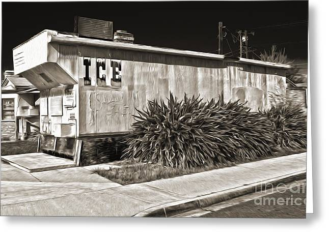 Old Chino Ice House - Sepia Toned Greeting Card by Gregory Dyer