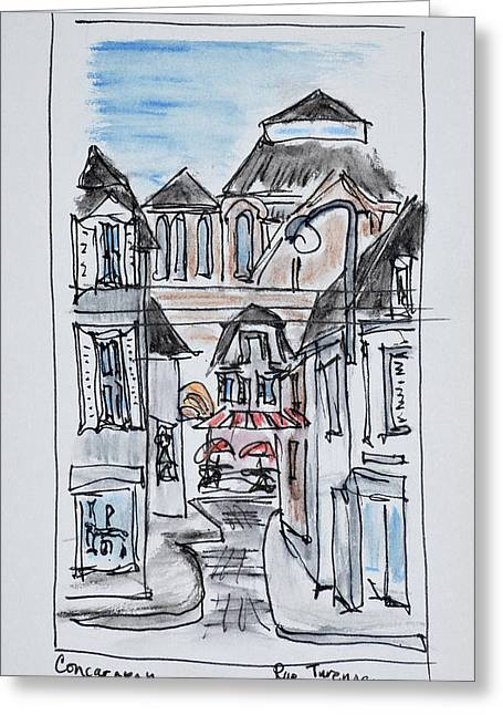 Old Church Of Concarneau Along Rue Greeting Card