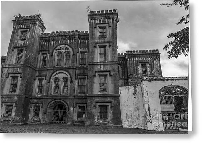 Old City Jail In Black And White Greeting Card