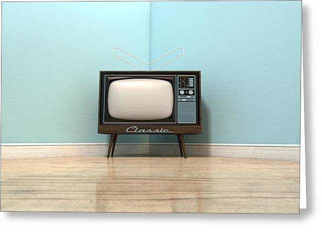 Old Classic Television In A Room Greeting Card by Allan Swart