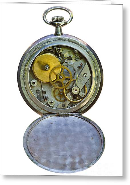 Old Clock Greeting Card by Michal Boubin