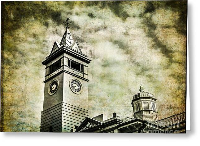Old Clock Tower Greeting Card by Perry Webster