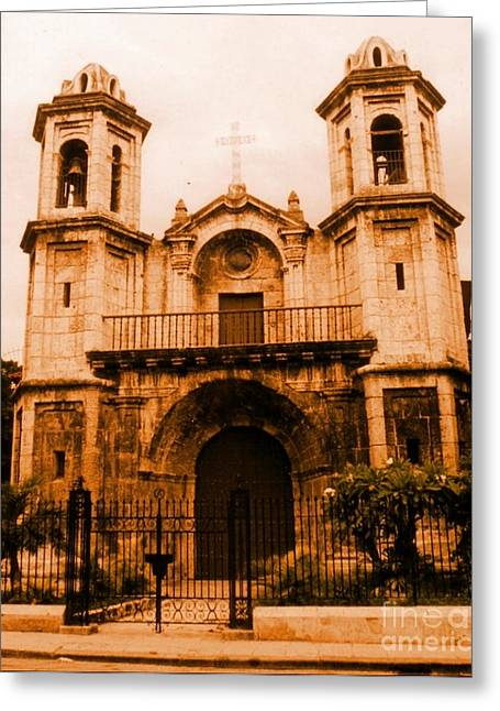Old Colonial Church In Varadero Cuba Greeting Card by John Malone