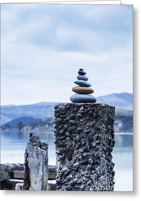 Old Concrete Jetty Posts Governors Bay Banks Peninsula New Zealand Greeting Card