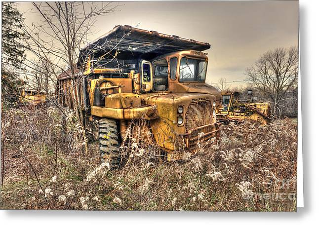 Old Construction Truck Greeting Card by Dan Friend