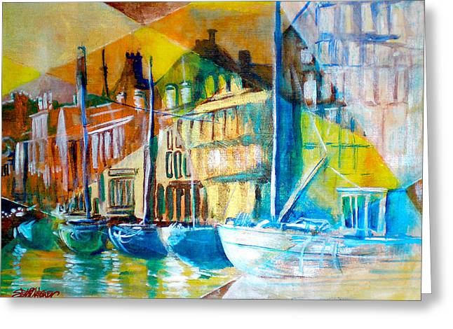 Greeting Card featuring the painting Old Copenhagen Thru Stained Glass by Seth Weaver