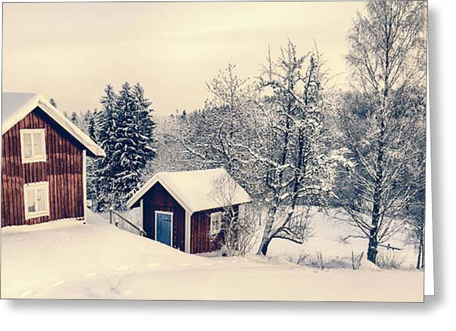 Old Cottages In A Snowy Rural Landscape Greeting Card by Christian Lagereek