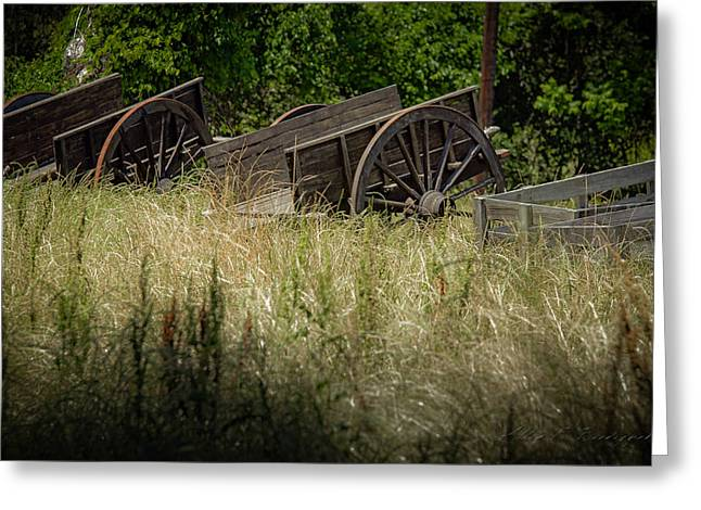 Greeting Card featuring the photograph Old Cotton Bale Wagons by Allen Biedrzycki