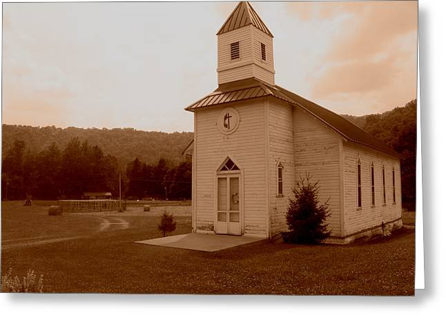Old Country Church Sepia Greeting Card by Dale Bradley