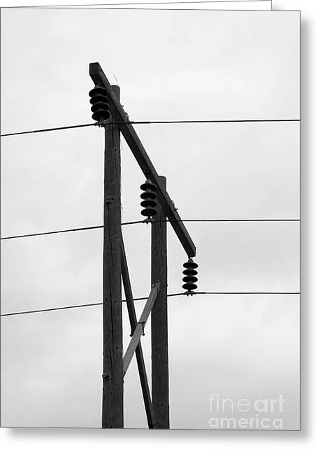 Old Country Power Line Greeting Card