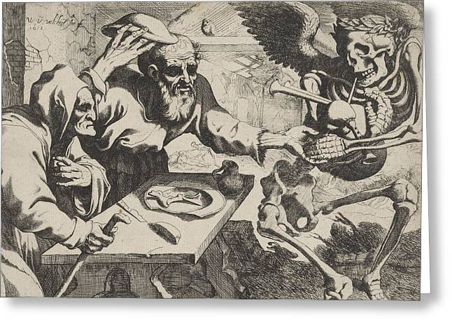 Old Couple With Bagpipes Playing Death, Print Maker Werner Greeting Card by Werner Van Den Valckert And Johannes De Ram