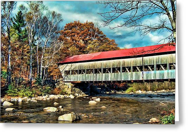Old Covered Bridge Greeting Card by Kenny Francis