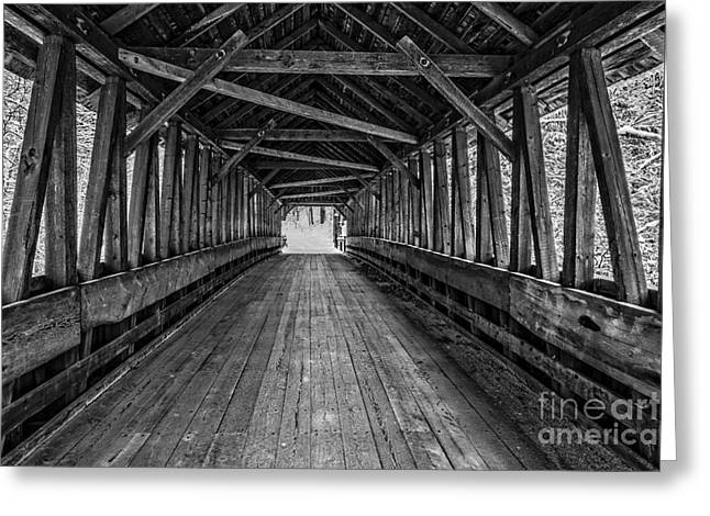 Old Covered Bridge Winter Interior Greeting Card by Edward Fielding