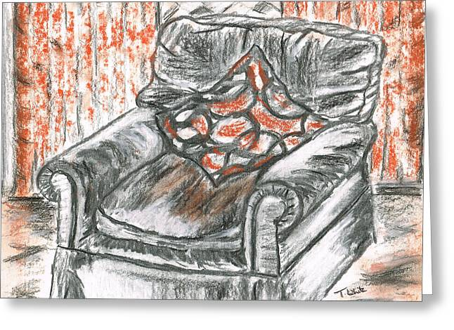 Greeting Card featuring the drawing Old Cozy Chair by Teresa White
