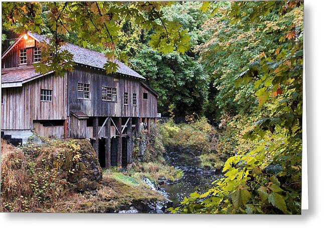 Old Creek Grist Mill In Autumn Greeting Card by Athena Mckinzie