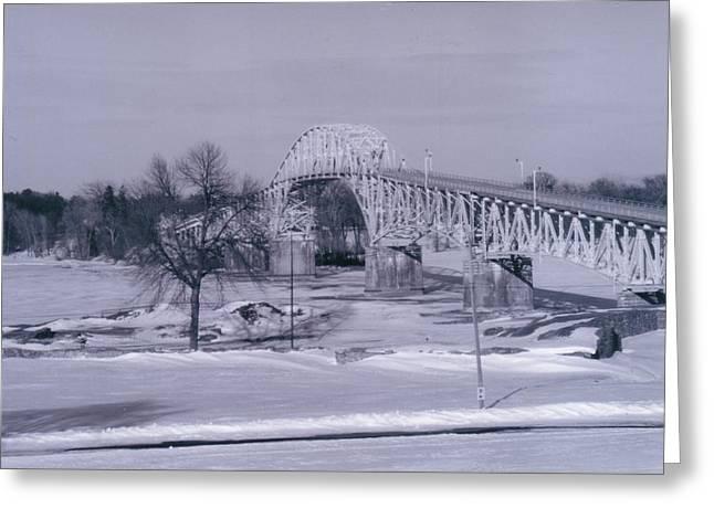 Old Crown Point Bridge In Winter Greeting Card by David Fiske