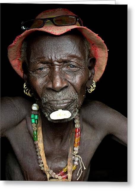 Old Dassenech Tribesman With Cataracts Greeting Card by Tony Camacho
