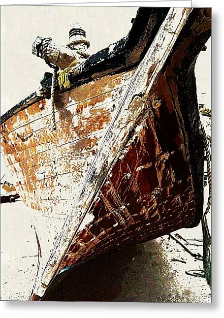 The Old Dhow Greeting Card by Peter Waters