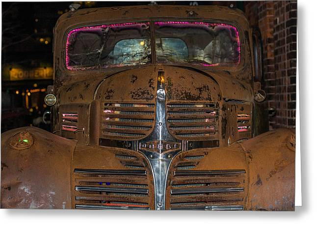 Old Dodge Truck In  Neon Greeting Card