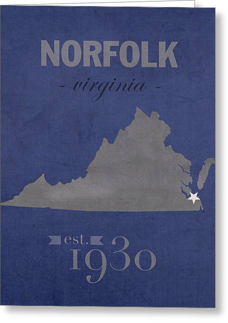 Old Dominion University Monarchs Norfolk Virginia College Town State Map Poster Series No 085 Greeting Card by Design Turnpike