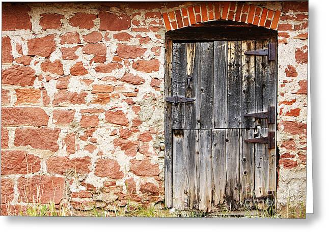 Greeting Card featuring the photograph Old Door In A Stone Wall by Lincoln Rogers