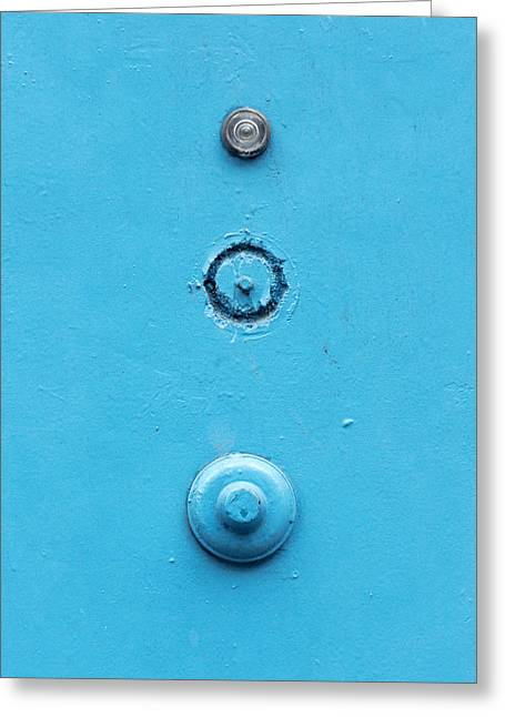Old Door With A Doorbell And Peephole Greeting Card by Mikel Martinez de Osaba