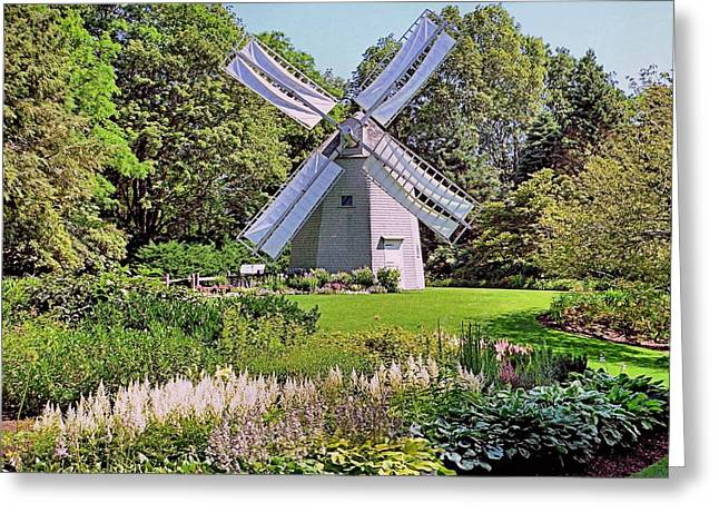Greeting Card featuring the photograph Old East Windmill  by Janice Drew