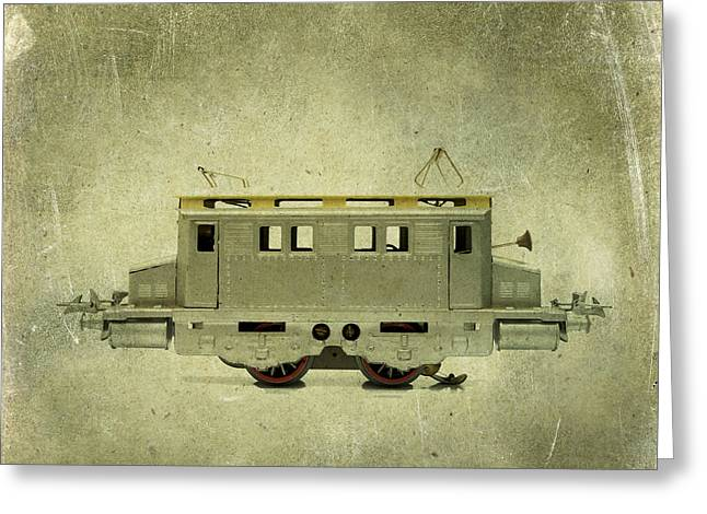 Old Electric Train Greeting Card by Bernard Jaubert