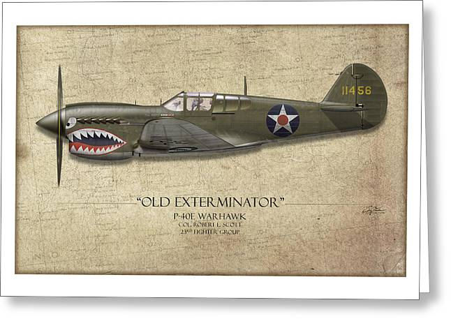 Old Exterminator P-40 Warhawk - Map Background Greeting Card by Craig Tinder