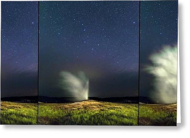 Old Faithful Geyser And Ursa Major Stars Greeting Card by Babak Tafreshi