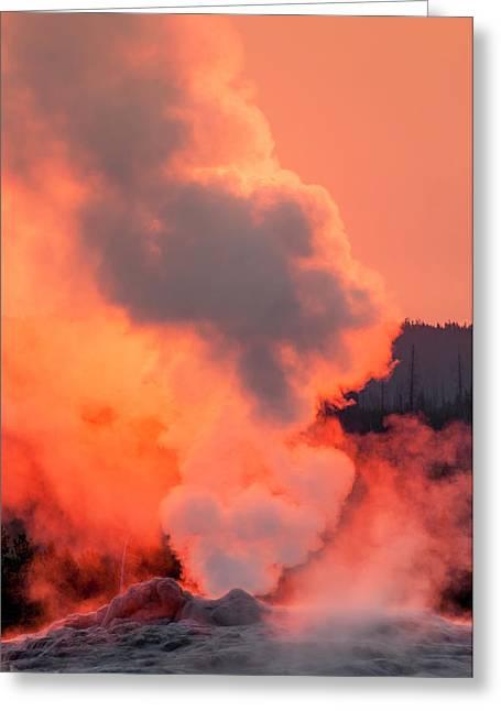 Old Faithful Geyser Yellowstone Greeting Card