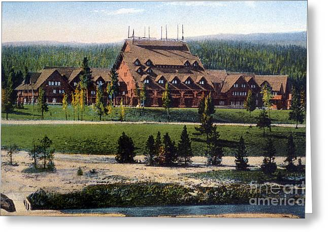 Old Faithful Inn Yellowstone Np 1928 Greeting Card by NPS Photo Asahel Curtis