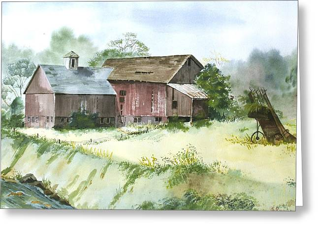 Old Farm Buildings Greeting Card by Susan Crossman Buscho