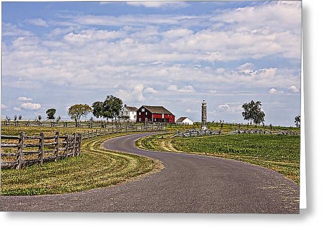 Old Farm House And Barn Gettysburg Greeting Card by Terry Shoemaker