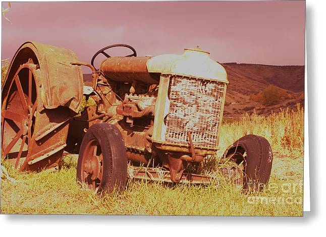 Old Farm Tractor  Greeting Card by Jeff Swan