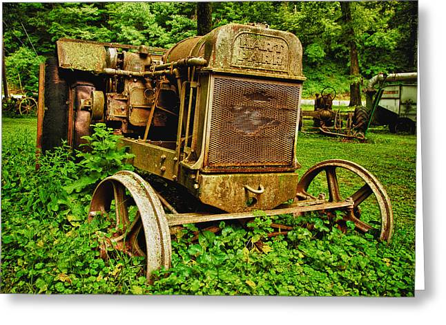 Old Farm Tractor Greeting Card by Sebastian Musial