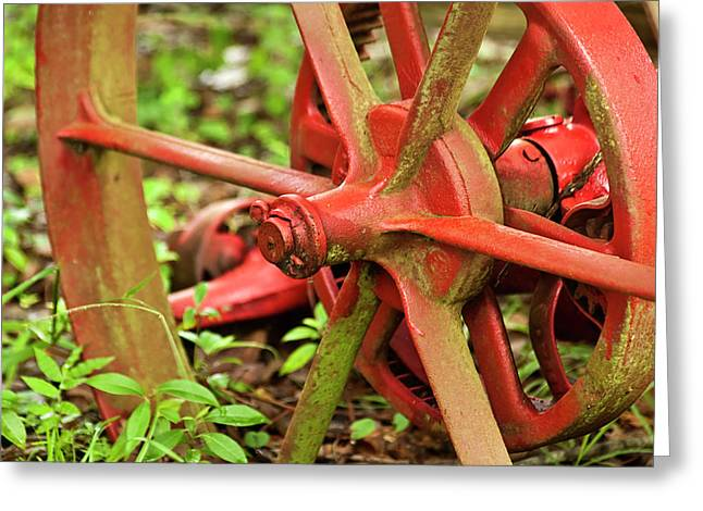 Old Farm Tractor Wheel Greeting Card