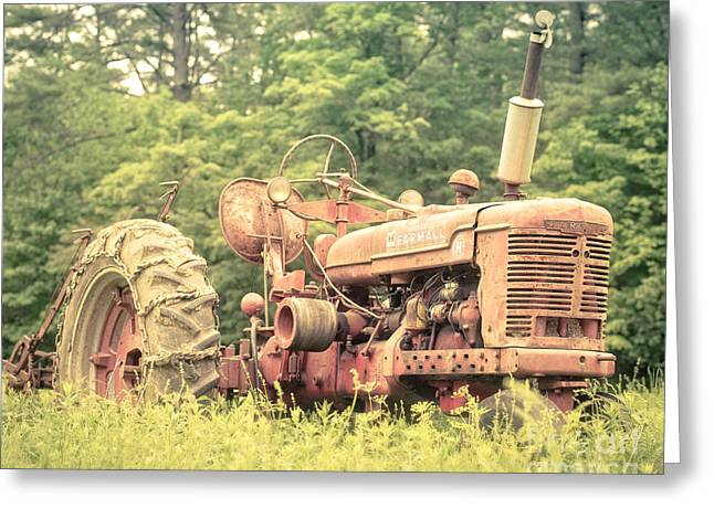 Old Farmall Tractor At Sunrise Greeting Card