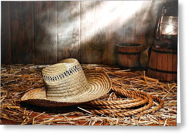 Old Farmer Hat And Rope Greeting Card by Olivier Le Queinec