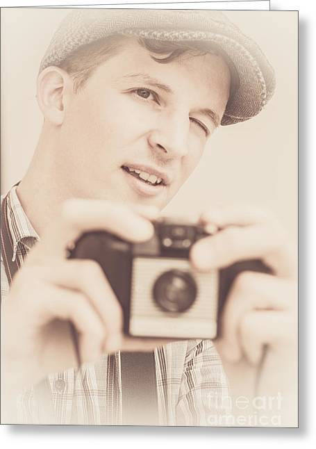 Old Fashion Male Freelance Photographer Greeting Card by Jorgo Photography - Wall Art Gallery