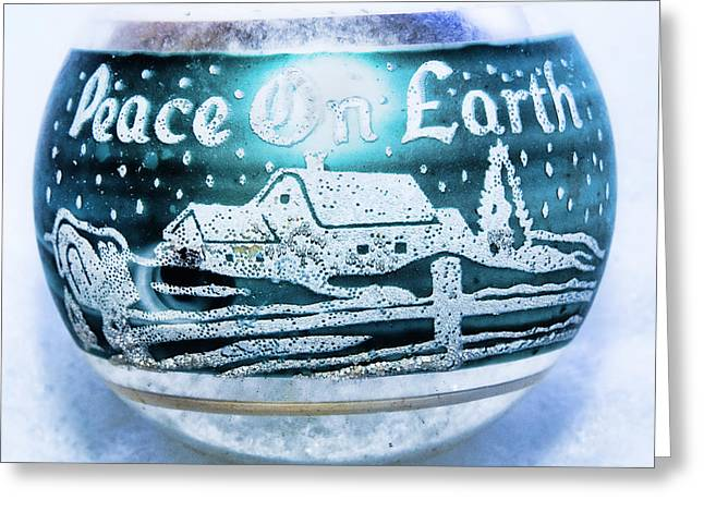 Greeting Card featuring the photograph Christmas Tree Ornament Peace On Earth  by Vizual Studio
