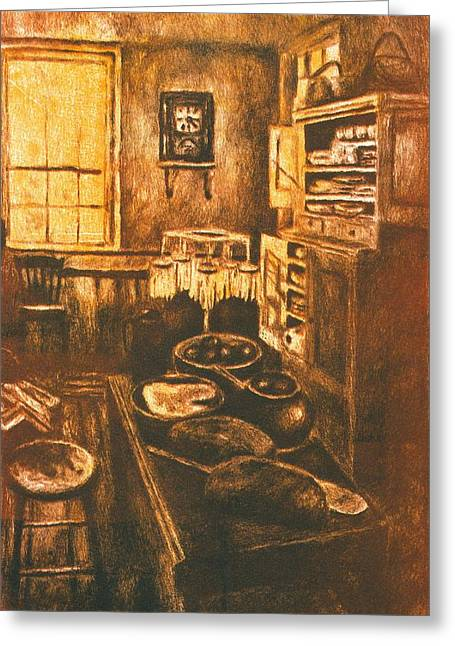 Old Fashioned Kitchen Again Greeting Card