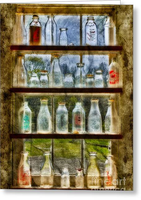 Old Fashioned Milk Bottles Greeting Card