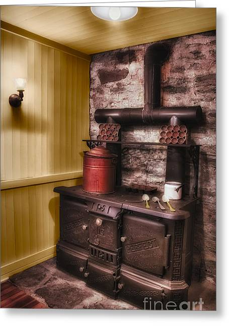 Old Fashioned Stove Greeting Card by Susan Candelario